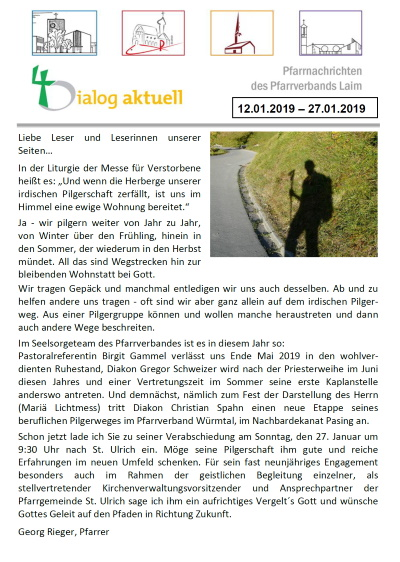 Pfarrnachrichten dialog aktuell - 2019