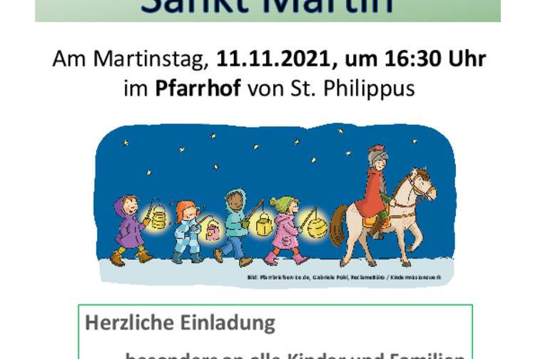 Auf dem Plakat sind Kinder zu sehen, die mit Laternen hinter einem hl. Martin zu Pferde hergehen.
